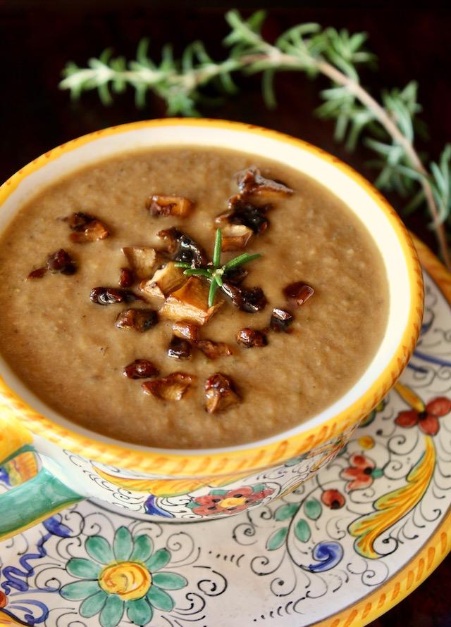 Vegan Cream of Mushroom Soup in Italian ceramic bowl
