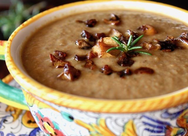 close up of Vegan Cream of Mushroom Soup in Italian ceramic bowl