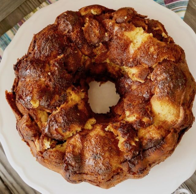 Top view of bundt-shaped French Toast Bread Pudding