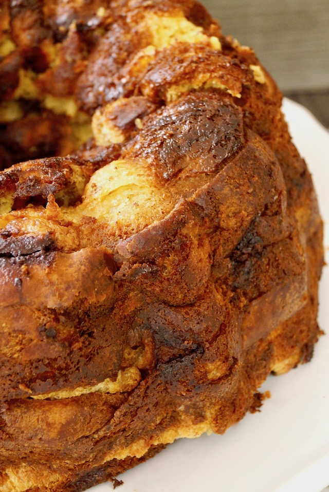 Side view of bundt-shaped French Toast Bread Pudding