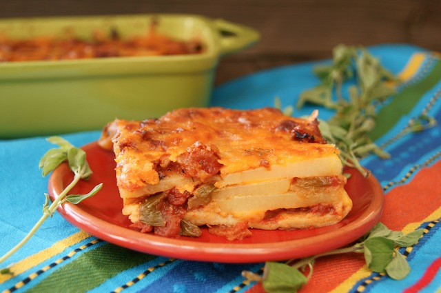 Post image for Chipotle-Potato Mexican Lasagna Recipe {Gluten-Free}