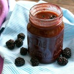 mason jar filled with blackberry balsamic vinaigrette