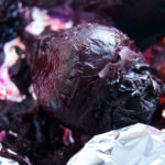 one cooked beet, skin removed, on foil