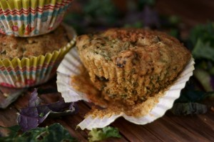Sweet, Spiced Kale Currant Muffins