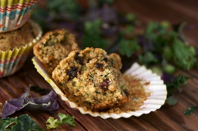 Sweet Spiced Kale Currant Muffins