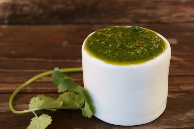 cilantro chimichurrin in a small white bowl