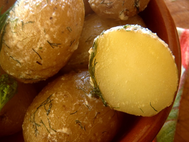 Salt Potatoes with Fresh Dill and Mascarpone