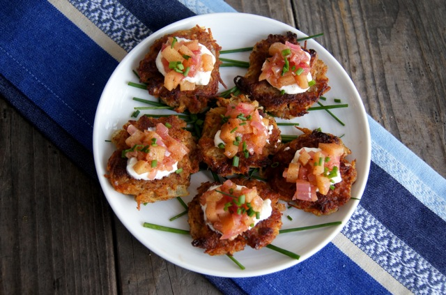 Potato Pancakes with Red Onion-Apple Compote