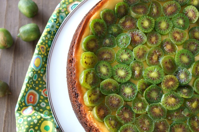 Kiwi Mascarpone Cheesecake on a white platter on wood table