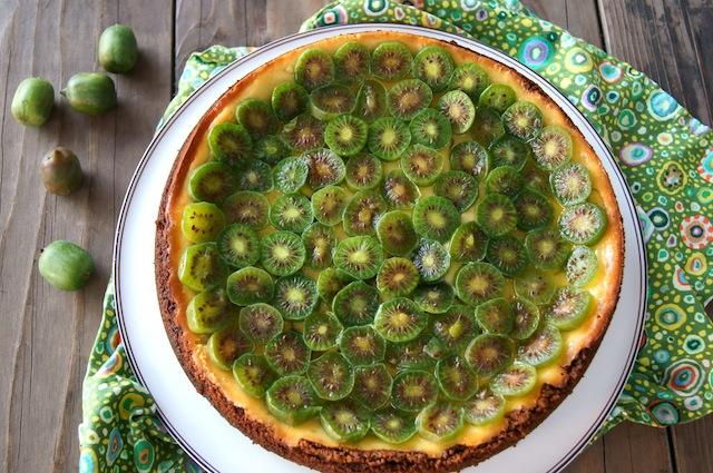Kiwi Mascarpone Cheesecake on a white platter