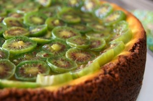 Honey Glazed-Baby Kiwi Mascarpone Cheesecake Recipe