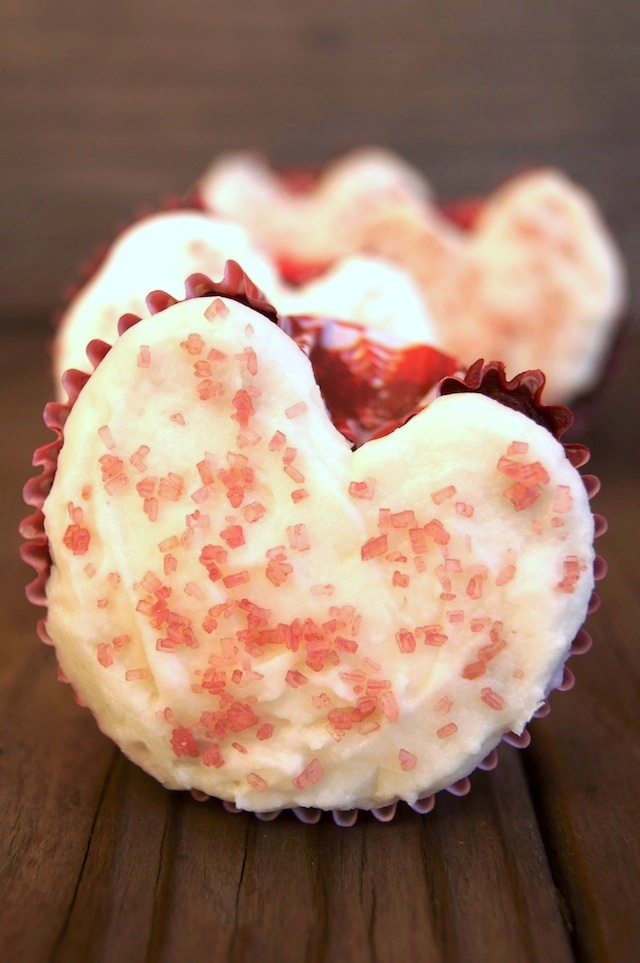Raspberry-Beet Valentine's Day Cupcakes in heart shapes