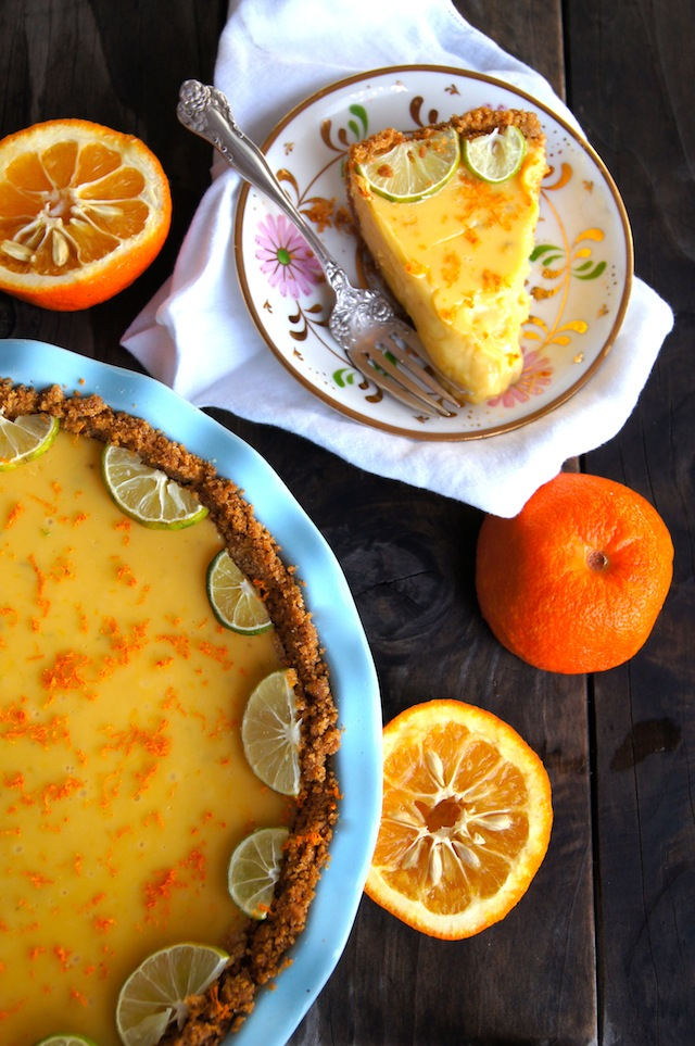 Seville Orange-Key Lime Pie with Cardamom Crust