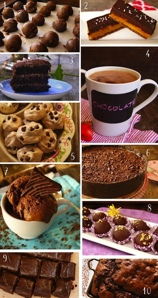 photo collage of Decadent Chocolate Valentine's Day Recipes