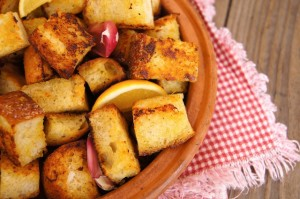 Marinated Lemon-Garlic Roasted Crouton Recipe | Cooking On The Weekends