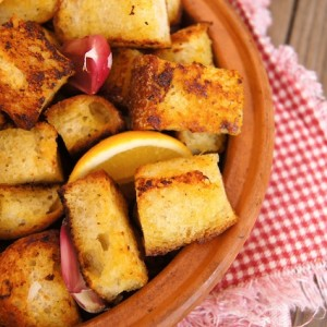 Marinated Lemon-Garlic Roasted Crouton Recipe