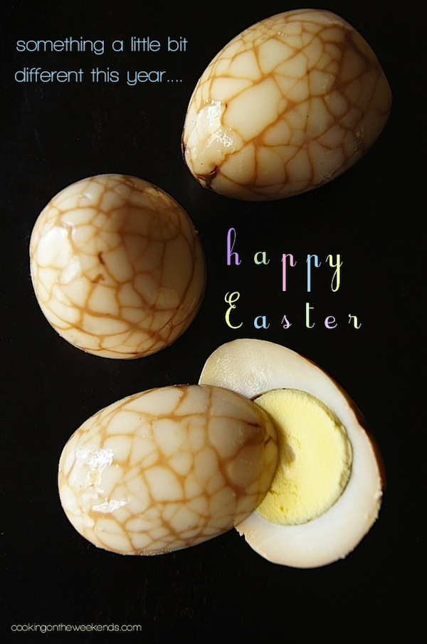 three Chinese Marbled Eggs, once sliced in half