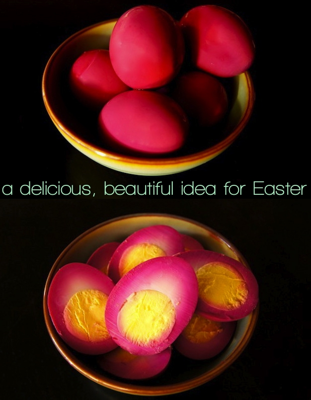 bright magenta Beet Pickled Eggs in a light green bowl