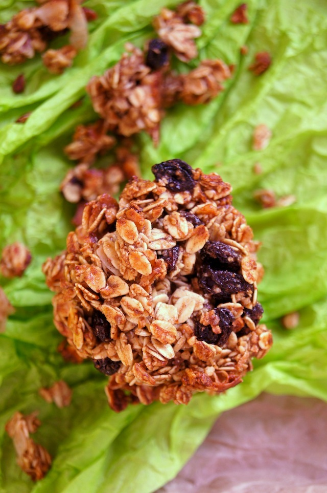 Top view of Spiced Granola Breakfast Cookie stack on green tissue paper