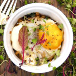 bacon hash brown casserole in white ramekin