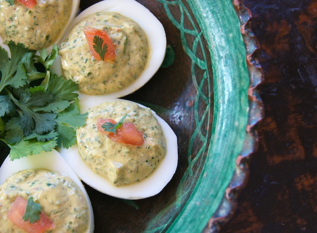 Spicy Cilantro Deviled Eggs