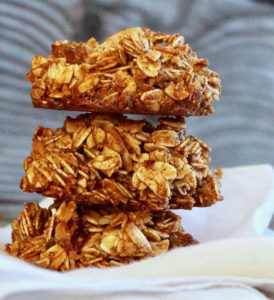 Stack of three Spiced Granola Breakfast Cookies