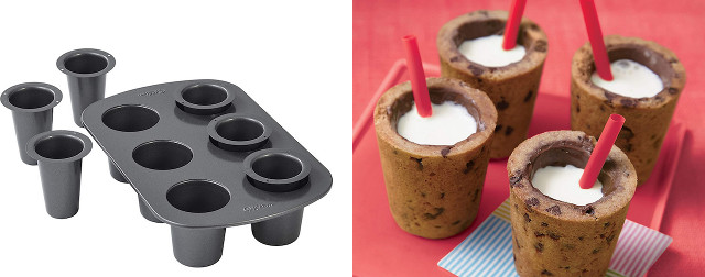 Shot glass - Cup Cookie molds with the cookies next to it with red straws and milk