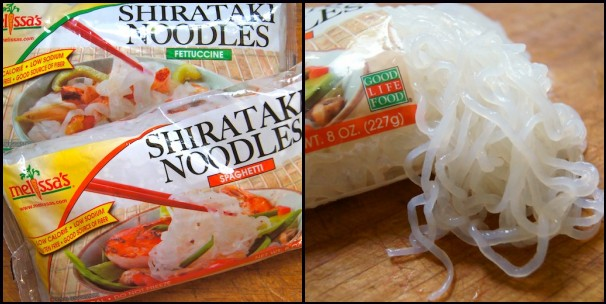 2 packages of Shirataki Noodles, 1 of them has the noodles spilling out of it.