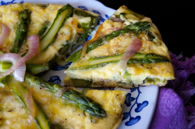 Caramelized Red Onion Asparagus Frittata