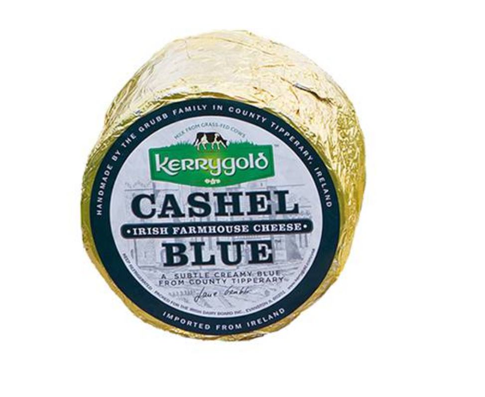 Large round package of Kerrygold Cashel Blue cheese