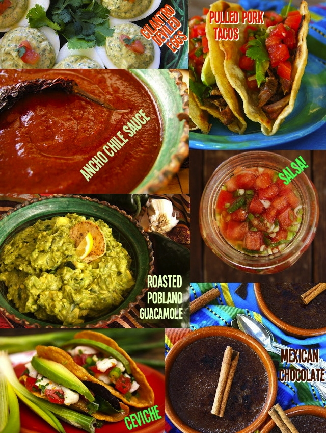 A photo collage of 7 super delicious Cinco de Mayo Recipes, with the titles printed on them.