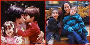 My mom, brother and I - 1973      ~      Me and my boys - 2013