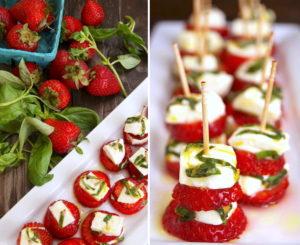 Strawberry Caprese on toothpicks