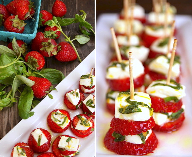 Strawberry Caprese on toothpicks on white plates