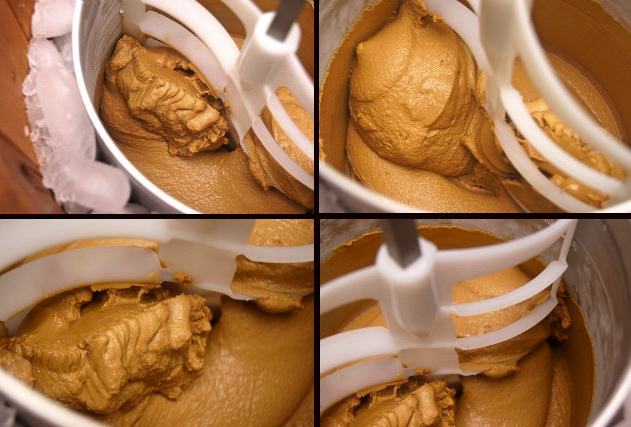 Grid of 4 images of Kahlua Espresso Gelato in ice cream maker.