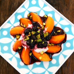 Apricots with Spiced Creme Fraiche and Blackberry Port Sauce
