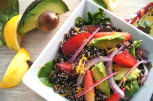 r Lemon-Black Quinoa Plum and Avocado Salad Recipe | Cooking On The Weekends