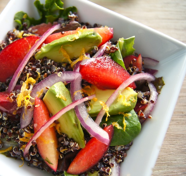 Meyer Lemon-Black Quinoa Plum and Avocado Salad