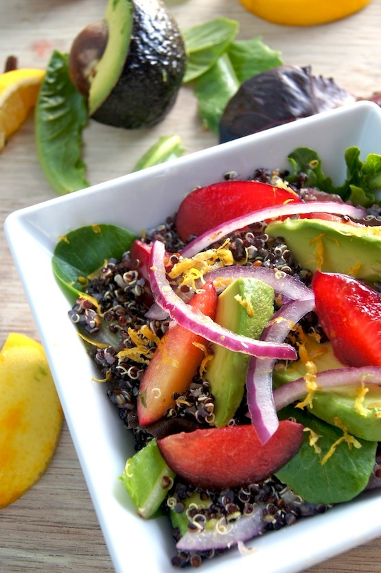 Meyer Lemon-Black Quinoa Plum & Avocado Salad Reicpe