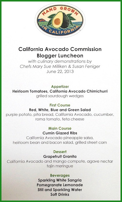 Image of a California Avocado Commission Blogger Luncheon Menu.