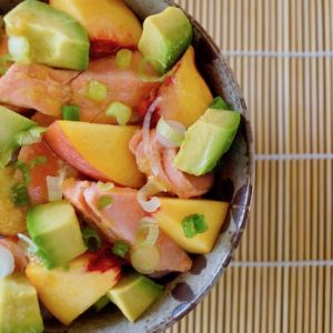 Sockeye Salmon Recipe with Peach and Avocado