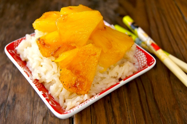 Coconut Sticky Rice with Spicy Pineapple in red bowl