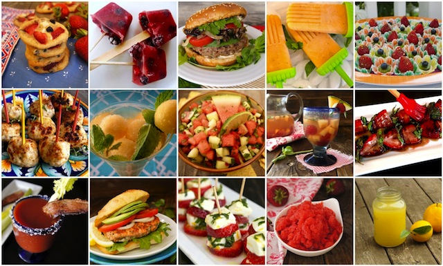Photo grid of 15 photos of July 4th Recipes.