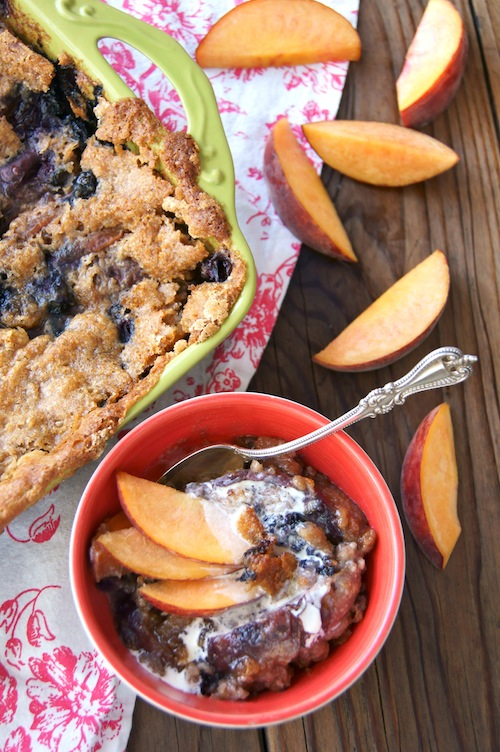 Chai Spiced Peach Blueberry Cobbler Cooking On The Weekends