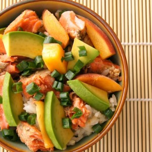 Summer Peach Marinated Salmon and Avocado Rice Bowl Recipe