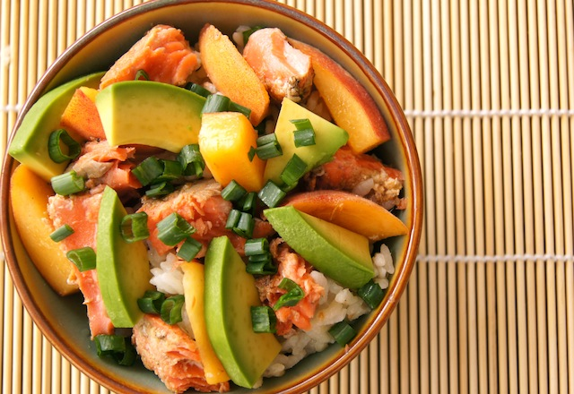 Summer Peach Marinated Salmon and Avocado Rice Bowl