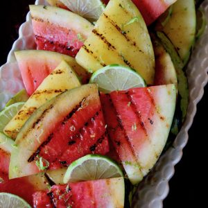 close up of grilled watermelon slices