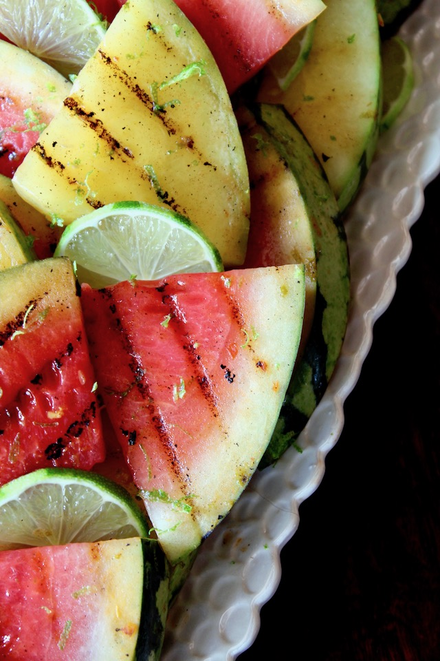 white platter with grilled watermelon and lime
