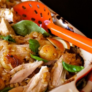 Cardamom Buttermilk Roasted Chicken and Potatoes with Apple Spiced Brown Rice