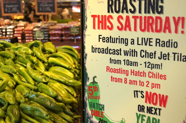 Santa Monica Bristol Farms Grand Opening sign and big pile of fresh Hatch Chiles.
